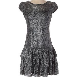 Cynthia Steffe Silver & Black Lace Ruffle Dress